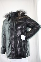 Кожаный пуховик, мужской, с мехом чернобурки ВС-133.  Код: 00000902979.